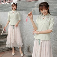 цены Ubei Chinese style dress spring 2019 vintage embroidered button-up blouse + floral skirt set two-piece set
