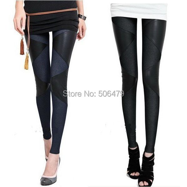 2015 new PVC Leather with Jeans combine women leggings ...