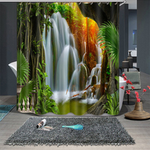 3d View Landscape Waterfall and Feather Pattern Shower Curtains Bathroom Curtain Thicken Waterproof Thickened Bath Curtain