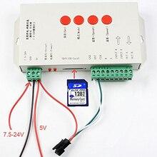 Светодиодный T1000S 128 SD Card пиксели RGB полноцветный контроллер DC 5 V 24 V для WS2801 WS2811 WS2812B LPD6803 светодиодный 2048 светодиодные полосы света светодиодные лампы