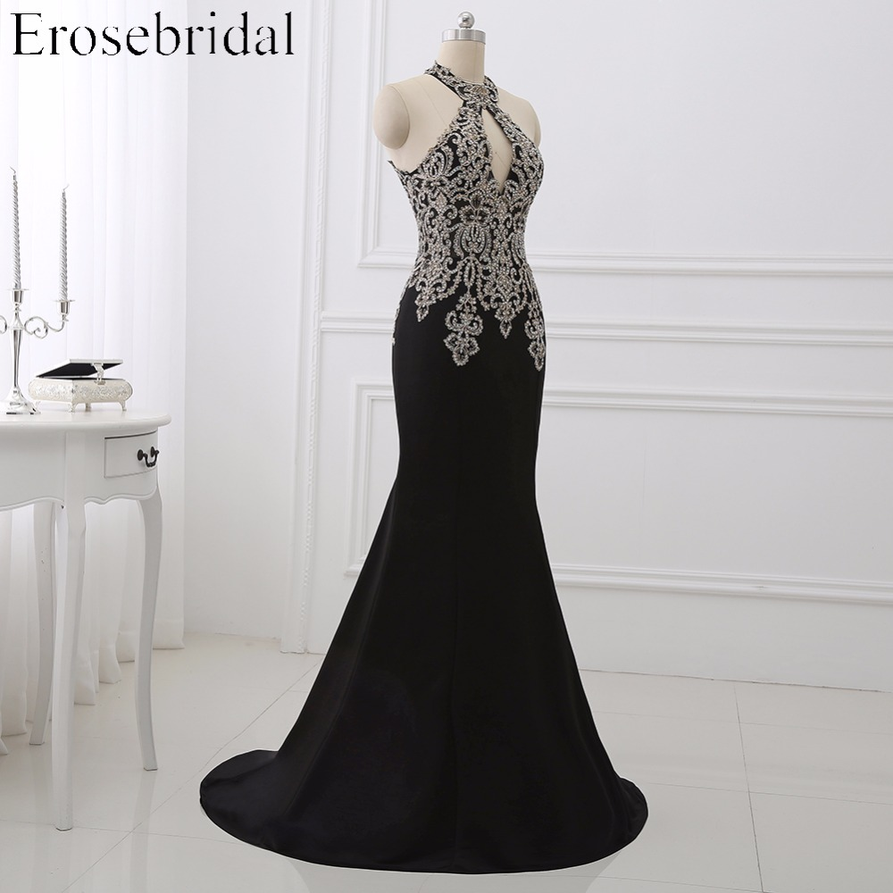 Image 2 - 2019 Black Mermaid Evening Dress Plus Size Erosebridal Gold Appliques Bodice Formal Women Party Gowns Halter Dresses ZDH04-in Evening Dresses from Weddings & Events