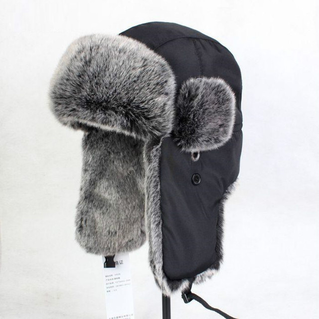 Northeast Cotton Hat Extra Large Leifeng Fur Hat Ski Cap Winter Bomber Hats Ear Protection Hat Black Skit Warm Cap B-8432