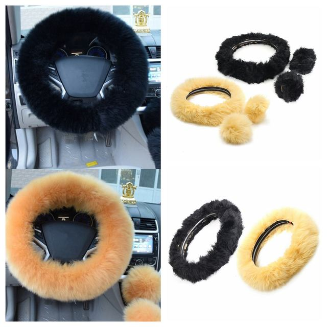 3PCs/Set Warm Winter Soft Plush Car Steering Wheel Covers Wool Heated Steering Wheel Cover 36-38cm Car Accessories