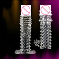 Reusable Super Stretchy Full Cover Penis Sleeve Crystal Spike Condoms Delay Erection Sex Toys
