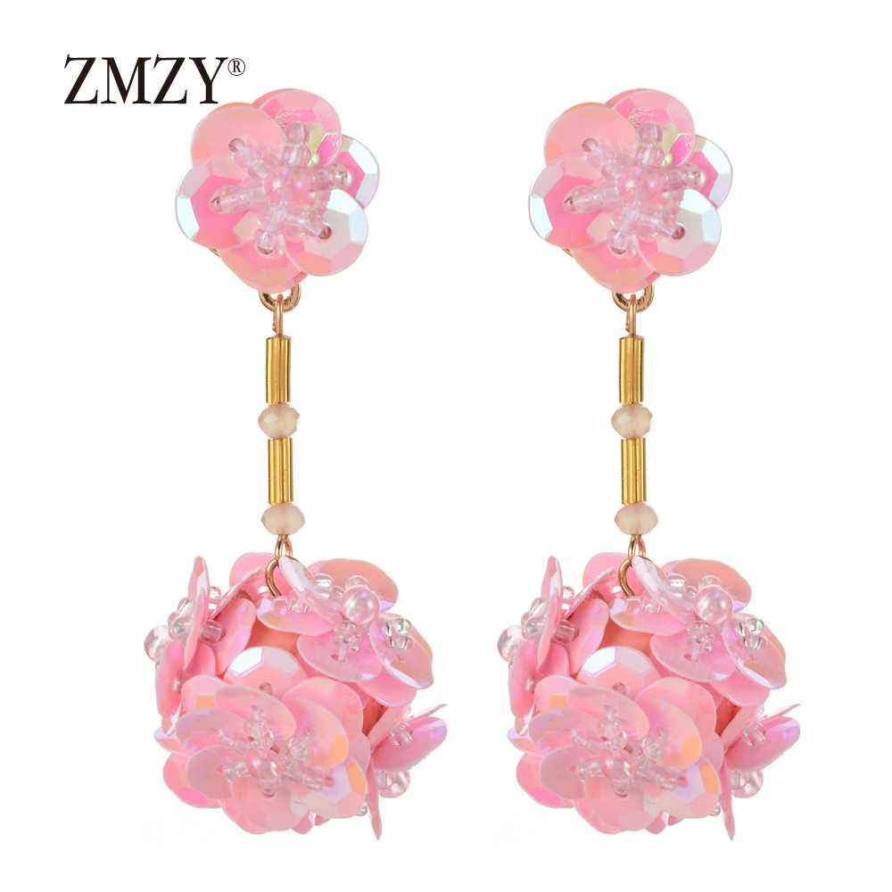 ZMZY Boho Cute Pinky Color Sequins Balls Drop Dangle Earrings For Women Charm Bijoux Maxi Statement Earrings Fashion Jewelry
