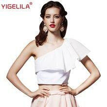 YIGELILA 7209 Fashion Women Tops One Shoulder Sexy Ruffles Solid White Chiffon Shirt Tops