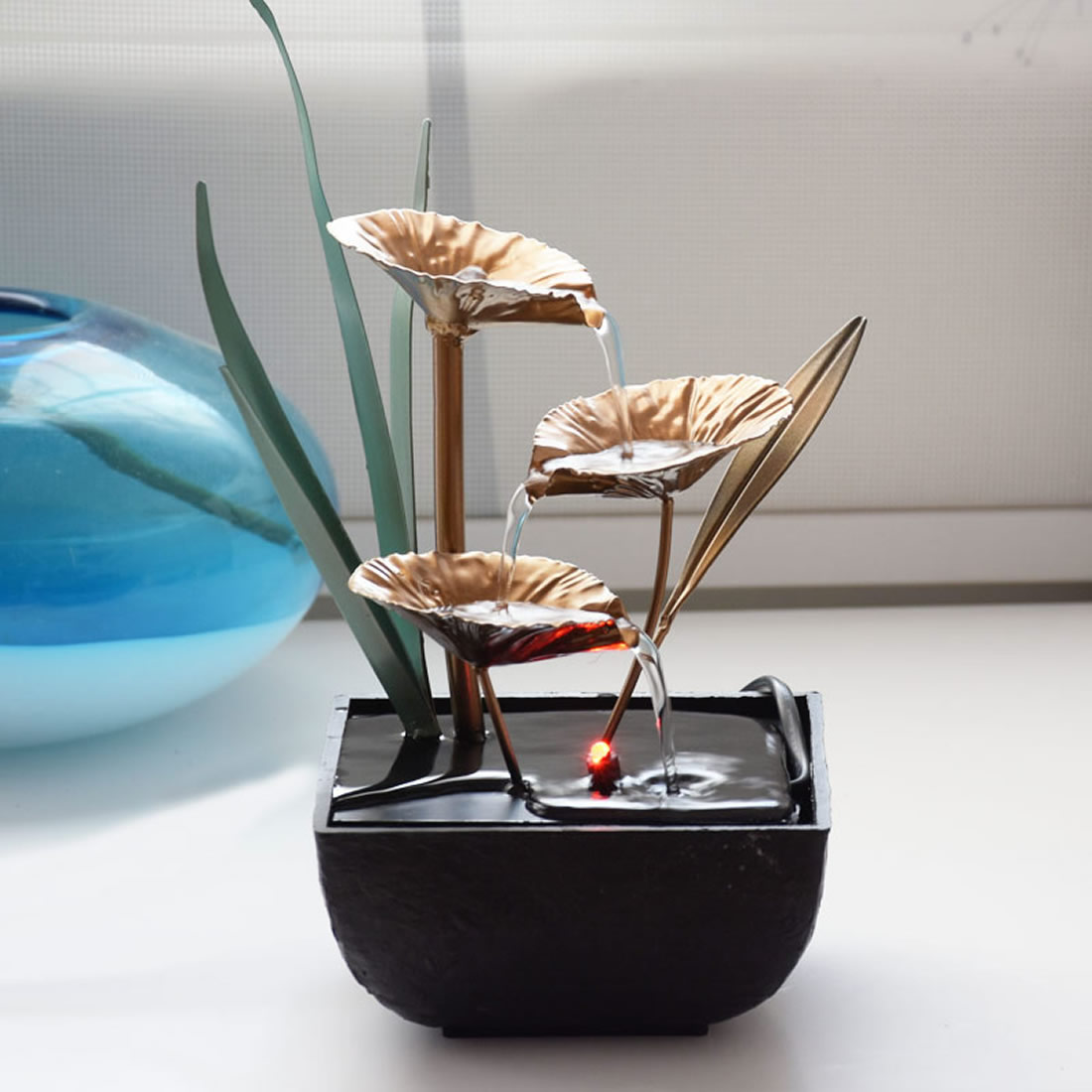 Famialy Indoor <font><b>Water</b></font> <font><b>Fountains</b></font> <font><b>decoration</b></font> Crafts Lotus Feng Shui Led Desktop <font><b>Water</b></font> <font><b>Fountain</b></font> For <font><b>Home</b></font> Office Teahouse <font><b>Decoration</b></font> image