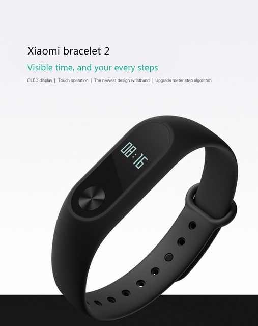2016 Hot!!! Xiaomi Mi Band 2 Support Heart Rate Monitor Bluetooth 4.0 Built-in G-Sensor Compatible with Android 4.4+/IOS 7.0 +