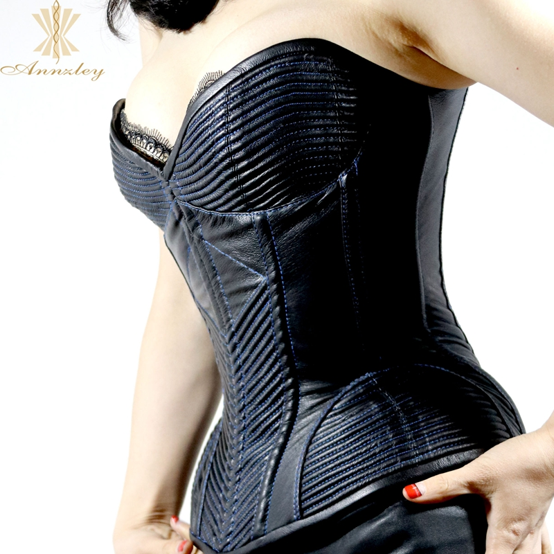 a34a58eb3a7 ... Annzley Top Quality Side Zipper Genuine Leather Steel Boned Overbust  Corset (3) ...