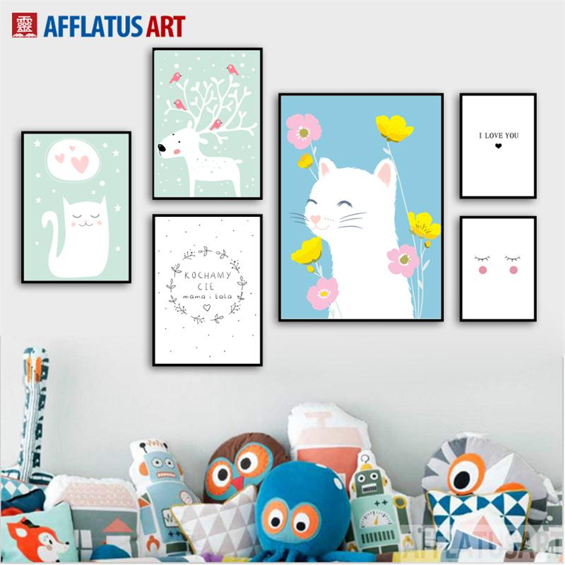 AFFLATUS Cat Deer Flower Nordic Poster Canvas Painting Wall Art Prints Animals Picture Style Kids Decoration