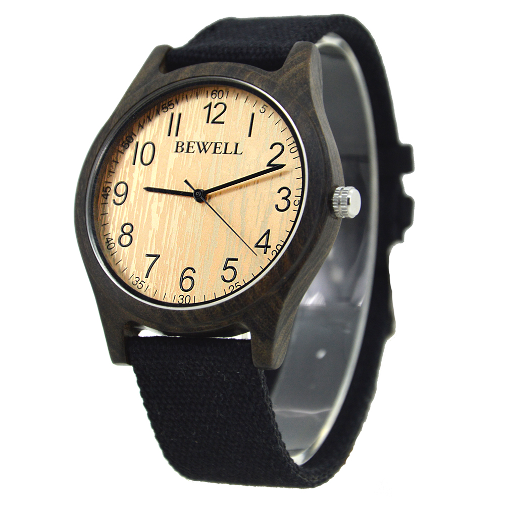 BEWELL Bamboo Wood Watch Analog Digital For Men 61