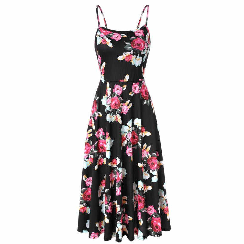 bc3cb8bd5cd Strapped Strapless Sleeveless Long Floral Dress Women Adjustable Strappy  Flared Maxi Dress Black Boho Sundress Beach