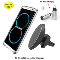 Universal Wireless Charging Magnet Car Phone Holder Car Charger For IPhone 8 X Samsung S7 S8