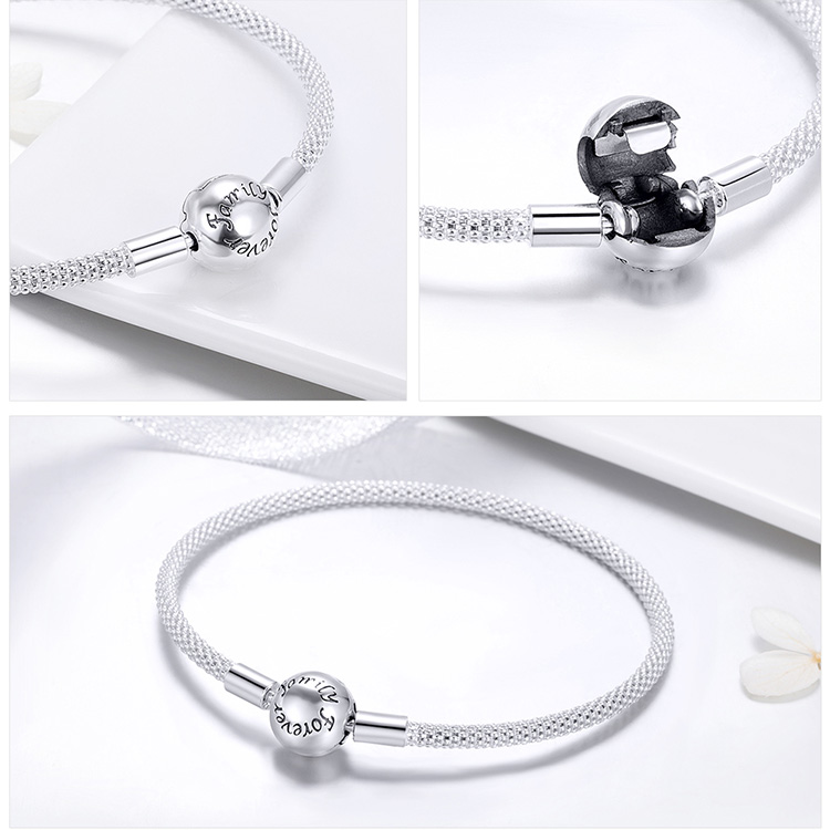Pulseira 925 Sterling Silver Bracelet Femme Snowflake Heart Blue Eye Femme Snake Chain Bracelets & Bangles Women Jewelry 6