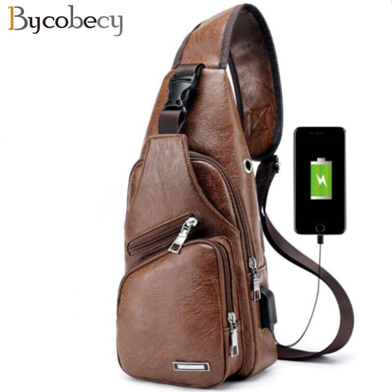 BYCOBECY 2018 Men's Chest Bag Retro PU Leather Single Shoulder Bag Leisure Travel Messenger Bag Chest Pocket Cross Body Bag