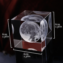 3D Laser Engraved Astronomical Moon Crystal Cube Ornaments Glass Miniatures Decoration Accessories