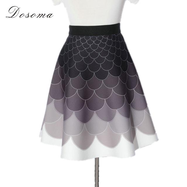 Cintura alta espaço algodão saia curta mulheres 2017 primavera elegante 17 padrões impressos mulheres saia magro geométrica saia guarda-chuva mini