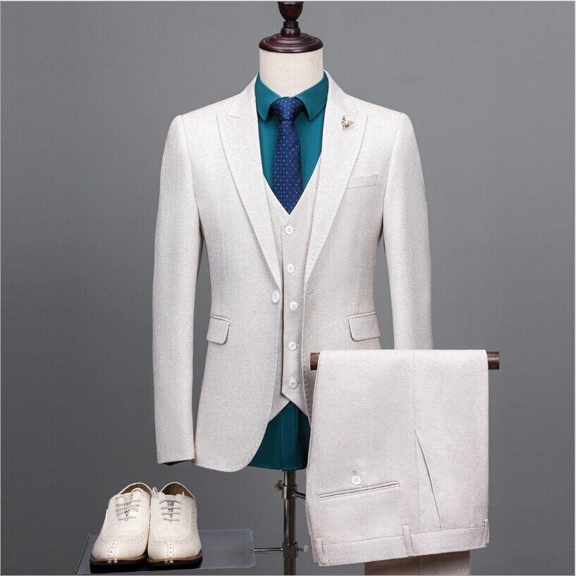 2017 New Arrival Brand Fashion Men Suits Beige Male Groom Blazers Wedding Tuxedos Prom Formal Business Jacket+Pants+Vest 3 Piece