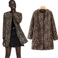 COZARII 2018 coats casaco feminino england style Woolen print leopard zipper o neck regular women bomber coat plus size