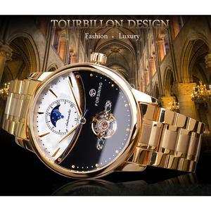 Image 2 - Forsining 2019 メンズ自動腕時計ロイヤルゴールデン日月自己風スケルトンステンレススチールバンド機械レロジオ時計