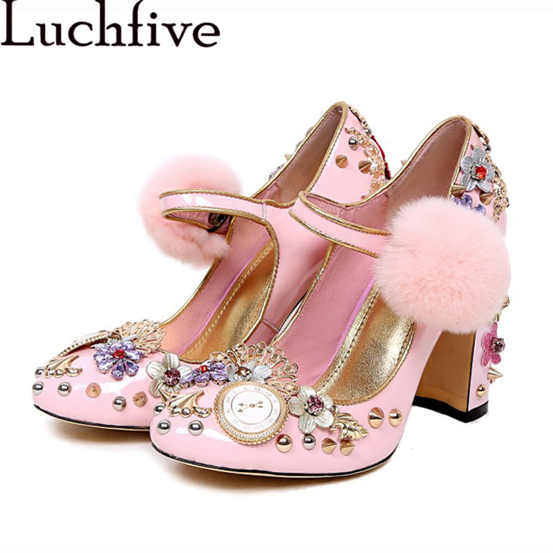 Pink Women Pumps Rivets Studded Chunky High Heels Mary Janes flowers crystal Valentine Shoes Stiletto Wedding Shoes for ladies pink white flowers sandals women crystal studded crossover chunky high heels runway rhinestone summer wedding shoes for ladies