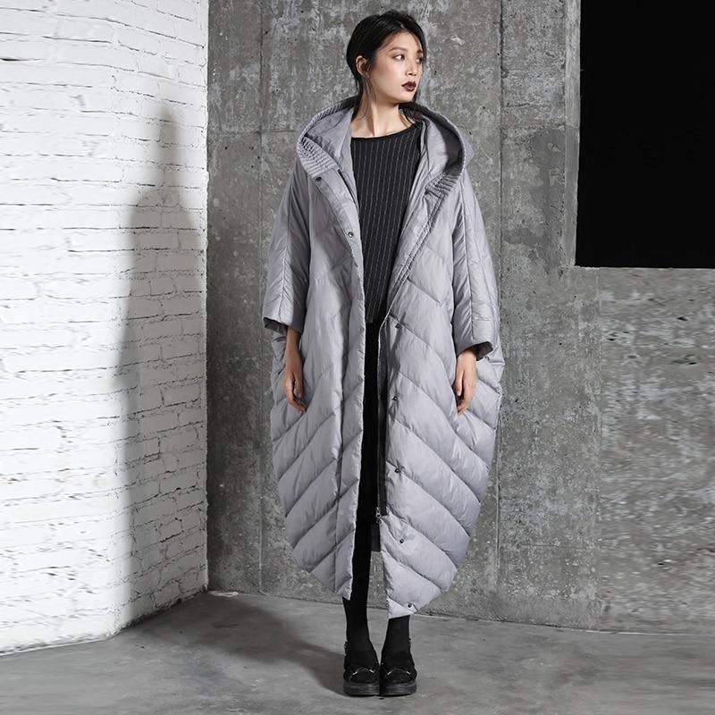 Hiver cocon manteau manches chauve souris mode style lâche et casual tendance femmes super long super grande taille doudoune capuche parkas - 3