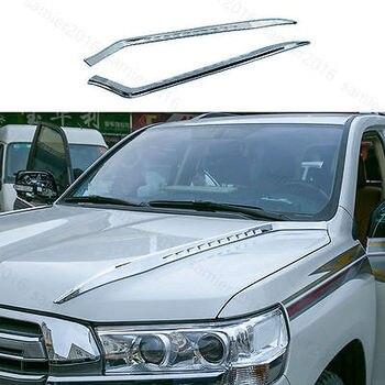 2x cromado apto para Toyota Land Cruiser 16-17 cabeza delantera cubierta del motor banda de ajuste