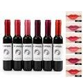 1 unid nueva llegada 6 colores popfeel mate botella de vino rojo del lápiz labial del lápiz labial lipgloss impermeable maquillaje colorido cremoso lápiz labial