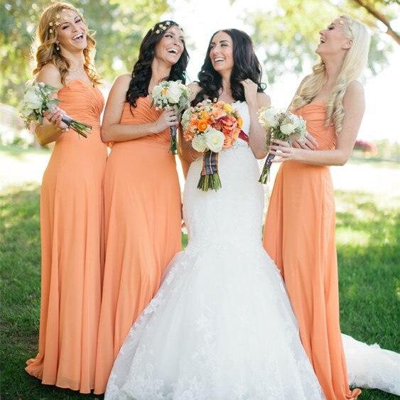 Orange vestidos de dama de honor baratos 2017 robe demoiselle d'honneur invitado