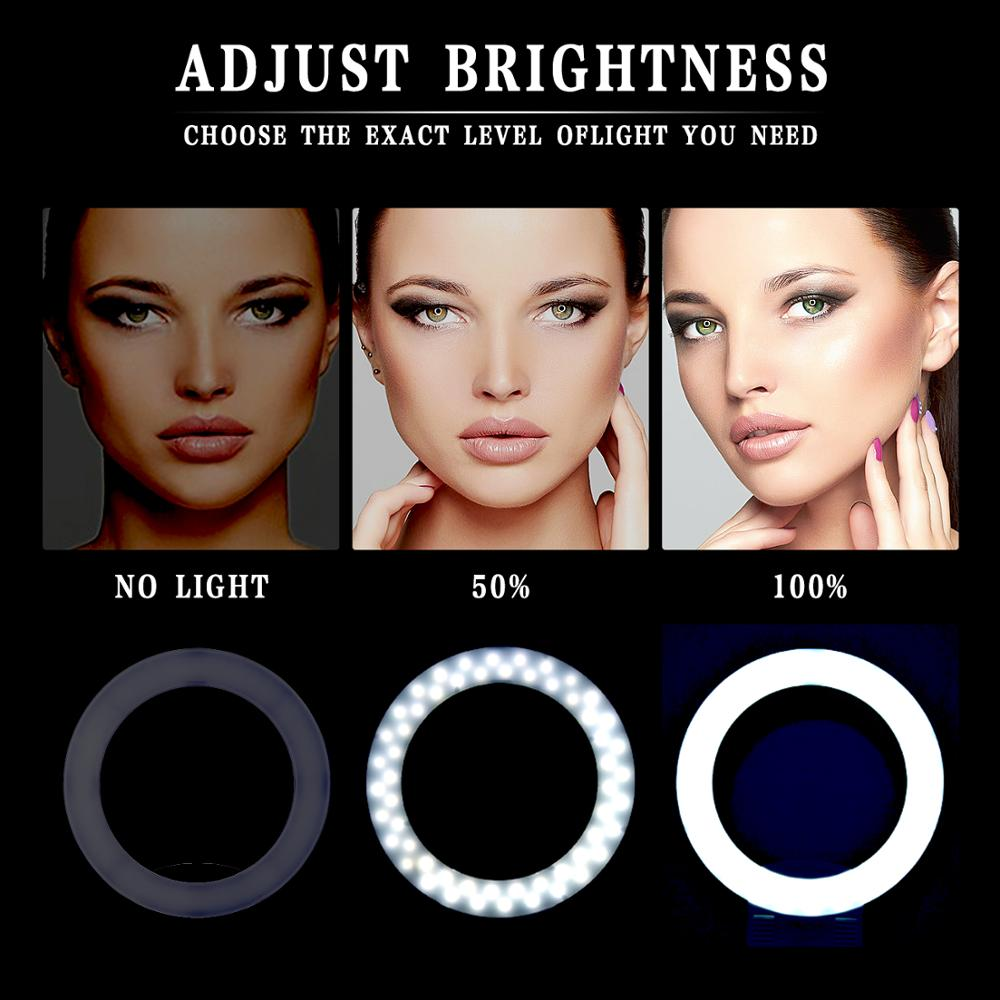 Image 5 - Fusitu FT 12B Bi color Selfie Ring Lamp 3200 5600K 240 Led Photographic light with 3 Hot Shoe Ring Light For Camera Phone Video-in Photographic Lighting from Consumer Electronics