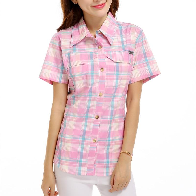 مهنة الإناث في صيف 2017 قمصان منقوشة بأكمام قصيرة وقميص قطني مخطط بلوزة مكتبية للنساء تمتد قميص 2840