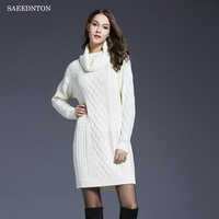 SAEEDNTON Thick Turtleneck Warm Women Sweater Autumn Winter Knitted Femme Pull High Elasticity Soft Female Pullovers Sweater