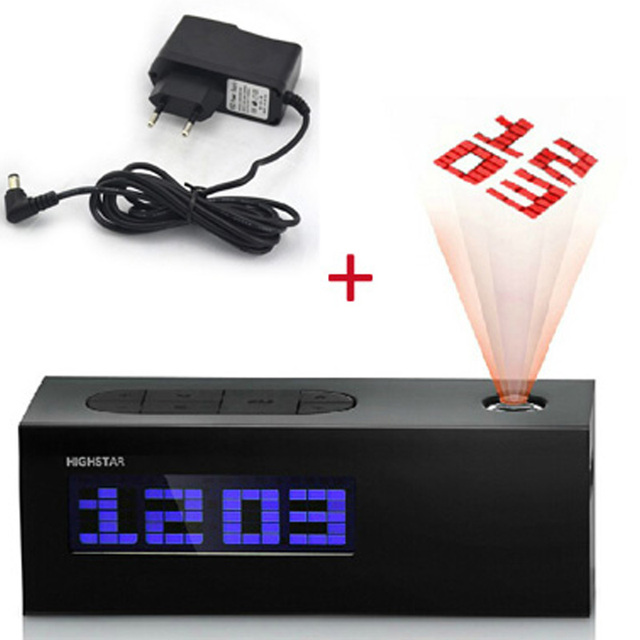 laser projecting alarm clock display time date temperature projector digital fm radio colorful. Black Bedroom Furniture Sets. Home Design Ideas
