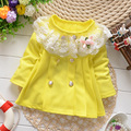 heat! retail 2016 new spring and autumn coat baby girl 100% cotton bow lace flowers jacket children 1-3 years old free shipping
