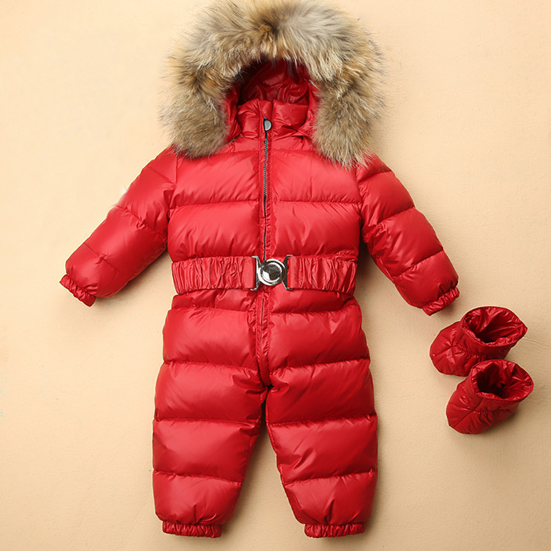 Baby Snowsuits Hooded Jumpsuit Duck Down Jackets For Boys Girls Kids Winter Snow Coats Clothes Infantil Thicken Rompers Overall стоимость