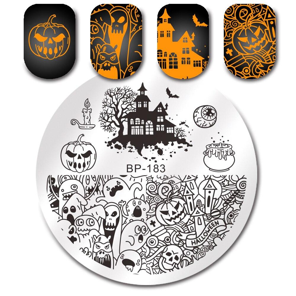 BORN PRETTY Halloween Pumpkin Ghost Castle Nail Art Print ...