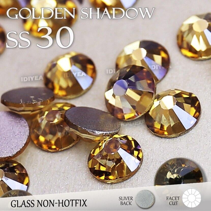 SS30 6.6mm Golden Shadow Nail Rhinestones 288pcs bag Non HotFix Flat Back  Crystals glass 7065dc5d2700