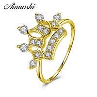 AINUOSHI 10 k массивная, желтая, Золотая Женская обручальное кольцо имитация бриллианта Bijoux Femme трендовые Корона Свадебные кольца, свадебные укра