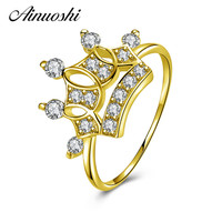 AINUOSHI Real 14K Gold Princess Crown Ring 14K Solid Yellow Gold SONA Simulated Diamond Women Wedding Engagement Ring Jewelry