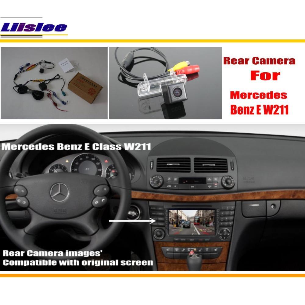 Carro back up câmera reversa para mercedes benz e w211 e280 e300 e320/câmera de estacionamento traseiro & tela original compatível