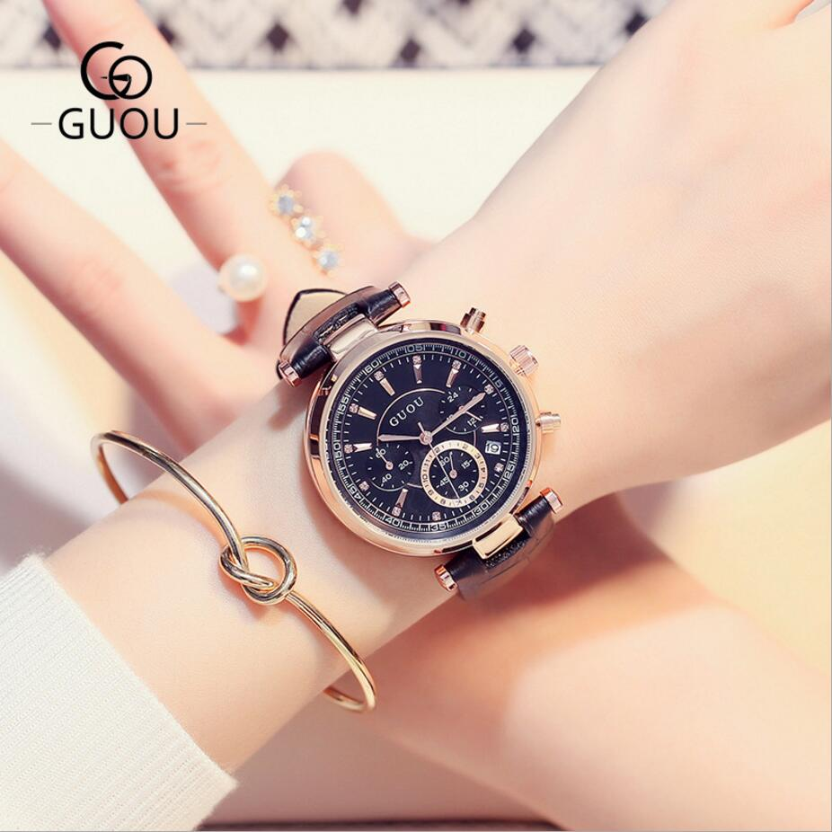 GUOU Top Brand Wrist Watch Women Watches Auto Date Ladies Watch Leather Women's Watches Clock kol saati montre femme reloj mujer aftermarket free shipping skull zombie horn cover for 1992 2015 harley davidson with side mount cowbell and all v rod s
