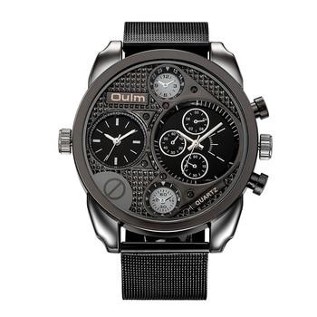 Luxury Brand Oulm Uhren Männer Mesh Stahl Echtem Leder Quarzuhr Große Design Männlichen Casual Militärische Armbanduhr uhren hombre