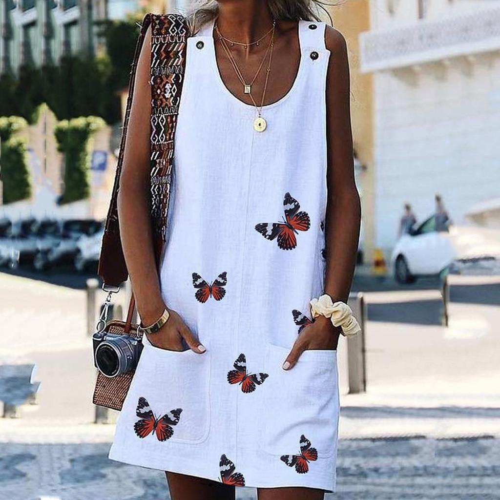Women O Neck Sleeveless Shoulder Clasp Butterfly Print Cotton And Linen Dresses Casual Dress Summer Woman