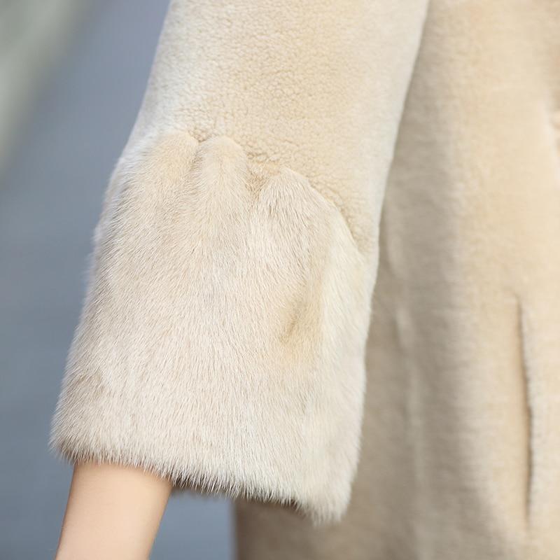 Long Moutons Manchette 2019 Vestes Hiver Femmes Tcyeek Vêtements Réel Vison Femelle Des Chaud Automne Laine Fourrure Manteau Lwl1375 Tonte De Naturel H41vU6