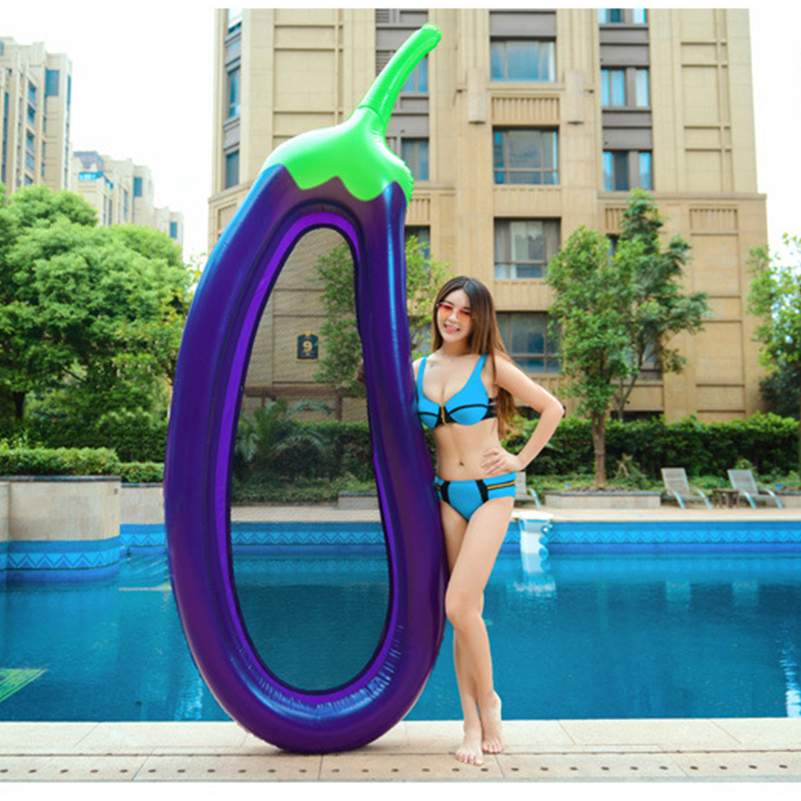 Inflatable Eggplant Lounge Chair Flamingo Swimming Float Pool Swan For Raft Kid Ring Summer Water Toy