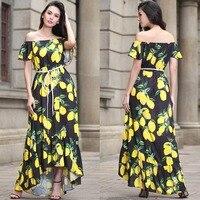 Fuerjia burst 2017 lato nowych kobiet sukienki w europie i amerykańskich długie sexy dress szyfonu lemon print dress sprzedaż hurtowa