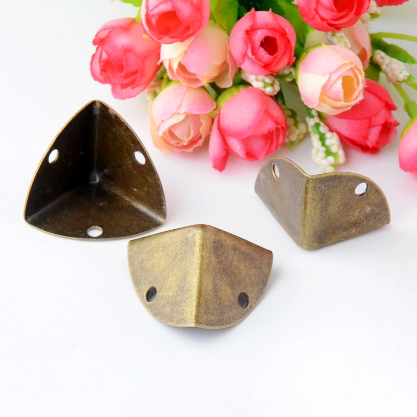 Free shipping 8Pcs Antique Bronze Jewelry Gift Box Wood Case Decorative Feet Leg Corner Protector 27x38mm J2966