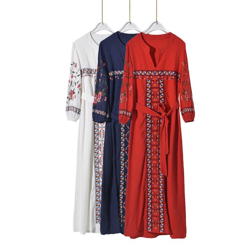 28b48a00173a3 Vintage Chic vestidos Boho dress vintage flare sleeve Floral embroidery  beach Bohemian maxi dress Ladies V neck Summer dress