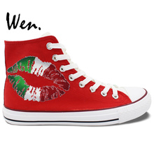 Wen Red Green Hand Painted Shoes Design Custom Italy Flag Lip Print Pattern Women Men's High Top Canvas Sneakers for Gifts