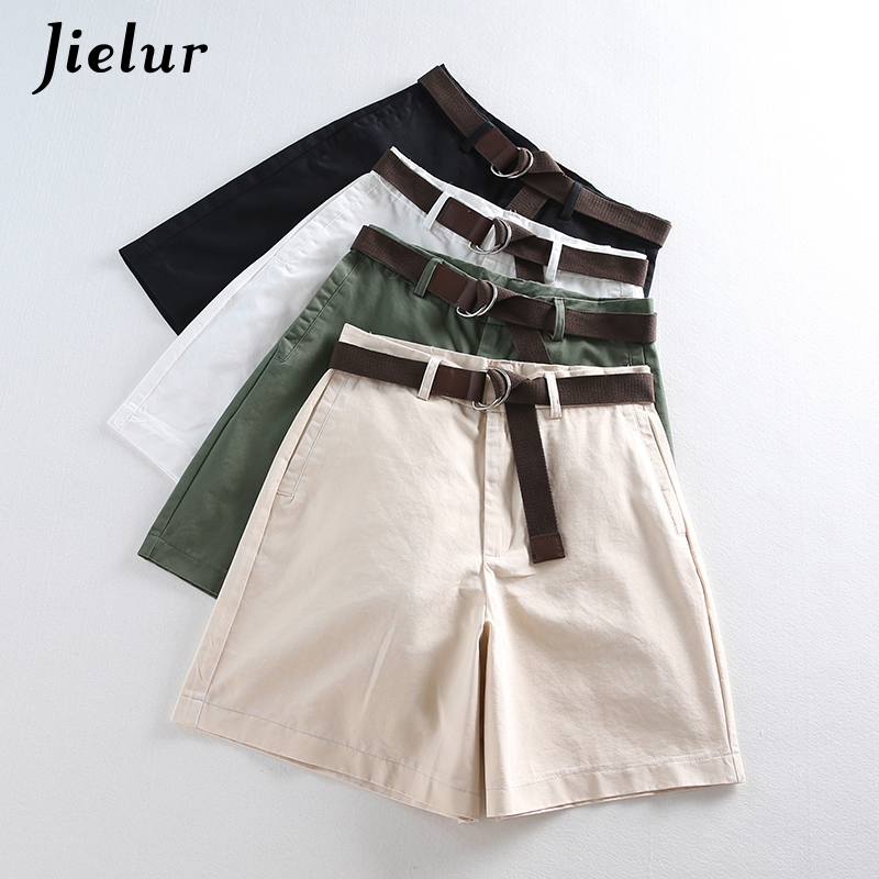 2019 Summer Leisure Tynn Shorts for kvinner Loose Large Size Wide Leg Shorts med High Waist Female A-line Short Feminino 4 Colors